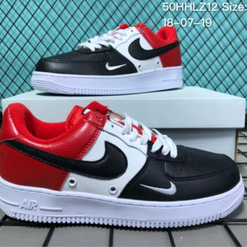 DCCK N019 Nike Air Force 1 Mid Three-Color Stitching Small Hook Fashion Causal Skate Shoes Black White Red