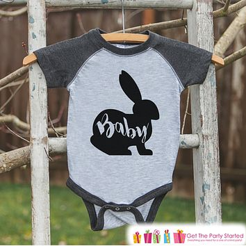 Kids Spring Outfit - Baby Bunny Shirt or Onepiece - Bunny Silhouette Family Shirts - Baby, Newborn, Infant - Easter Sibling Shirts - Grey