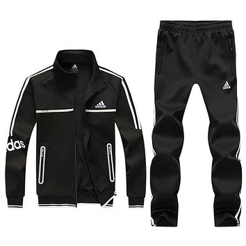 ADIDAS autumn and winter new men's sports suit casual wear fitness clothes running clothes two-piece Black
