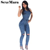 Hole Bandage Denim Jumpsuit Long Pants Bodysuit Blue Jean Jumpsuits for Women Sexy Fall Outfits One Piece Denim Overalls D30AC66