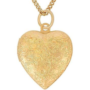 AUGUAU Lifetime Jewelry Heart Locket Necklace, Antique, 24K Gold over Semi Precious Metals, Guaranteed for Life (Choice of Locket with or without Pendant Chain)