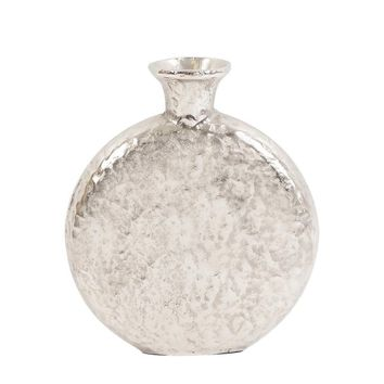 Hammered Silver Metal Round Vase Small