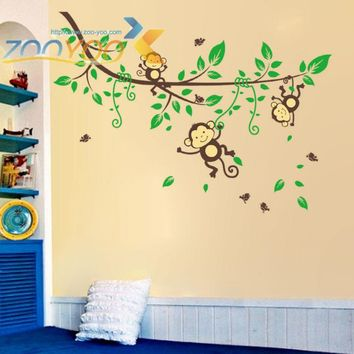 monkey wall stickers for kids room home decor zooyoo1205 pvc decal animals kindergarten classroom bedroom cartoon mural art 3.5