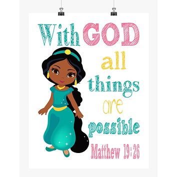 African American Jasmine Princess Christian Nursery Decor Print - With God all things are possible - Matthew 19:26