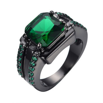 Men's Fashion Jewelry Finger Rings 14KT Black Gold Filled Ring Size 6/7/8/9/10/11/12 Emerald Sapphire New RB0072-6-12