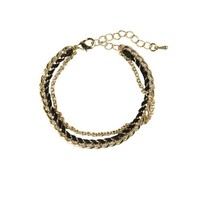 fine chain and cord bracelet