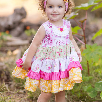 Giggle Moon Honeycomb and Blossoms Party Dress