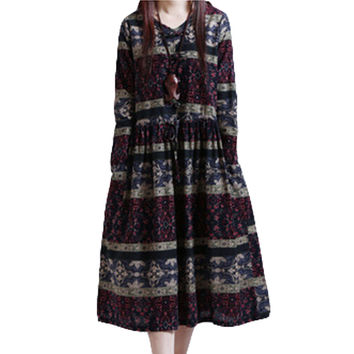 Women's Retro Loose-Fitting Long Sleeve Side Pockets Printed Floral Frog Dress 2017 Autumn Ethnic Dress Plus-Size Clothing XH331