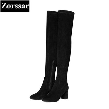 {Zorssar} 2018 New winter fur Women shoes Round Toe Thick heel Knight boots Kid Suede High heels womens over-knee snow boots