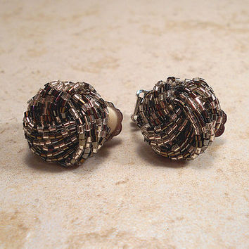 Black Silver Clear Seed Beaded Vintage Clip Earrings Silver Tone Twist Cluster Round Mid Century Womens Jewelry