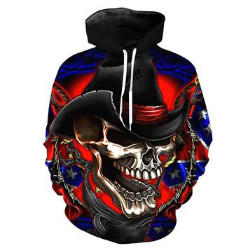 New cowboy skull Hoodies 3D Sweatshirts Men Women Hooded Hip Hop