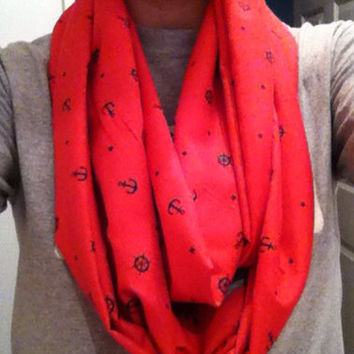 Pink infinity scarf with anchors, circle scarf