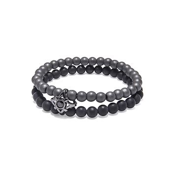 Men's Double Bead Wristband with Matte Onyx and Agate