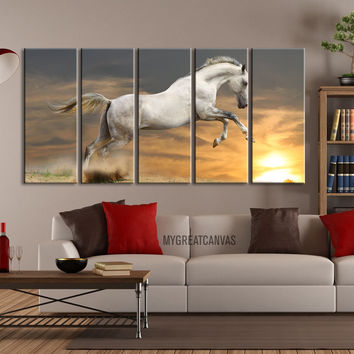 Large Wall Art Canvas Wild White Jumping Horse Canvas Print | Large Canvas Art Print | Giclee Print Framed Horse Art Canvas Printing