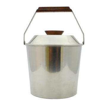 Lundtofte Stainless Steel and Rosewood Ice Bucket - Denmark - 1950s