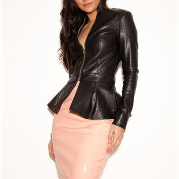 'Delfina' Black Leatherette Peplum Jacket