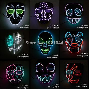 New style EL Wire Mask with Steady on Inverter Horror Halloween Mask Rave Party For Carnival Decoration
