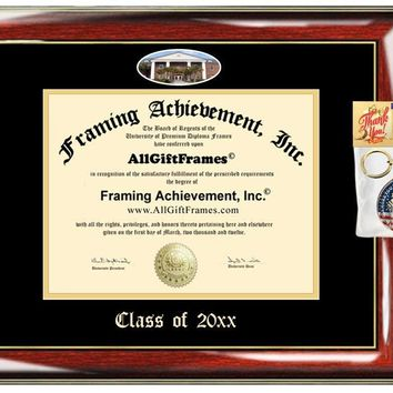 AllGiftFrames Custom Diploma Frame Embossed Coastal Carolina University Best Graduation Degree CCU Frame Double Mat Campus Fisheye Picture Frame Cheap Degree Certificate Holder Graduate Gift