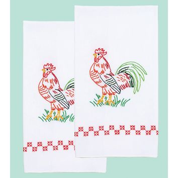 "Rooster Jack Dempsey Stamped Decorative Hand Towel Pair 17""X28"""