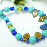 Turquoise Magnesite Golden Topaz Cobalt Blue Beaded Necklace 18 inch