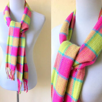 pink and yellow green gingham print scarf