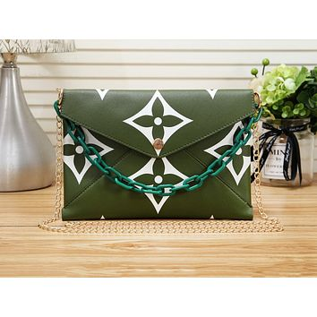 Louis vuitton hot seller of casual shoulder bags for women with fashionable printed briefcases Green