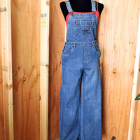 90s womens bib overalls size S / Old Navy Overalls / Medium wash denim bib over all jeans / retro grunge overalls