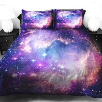 Anlye Galaxy Quilt Cover Galaxy Duvet Cover Galaxy Sheets Space Sheets Outer Space Bedding Set with 2 Matching Pillow Covers Queen