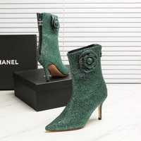 Chanel  Fashion green high-heeled shoes