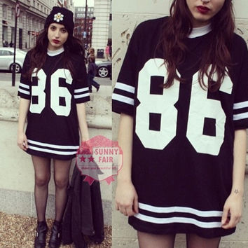 Womens Oversized Boyfriend 86 American Baseball T-shirt Top Summer Fashion TQ-LQ4354 = 1917034948
