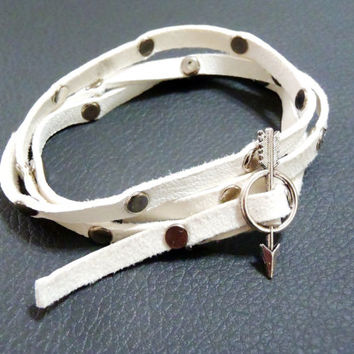 White Leather studded wrap bracelet with arrow slide clasp - silver arrow slide clasp and silver toned studs