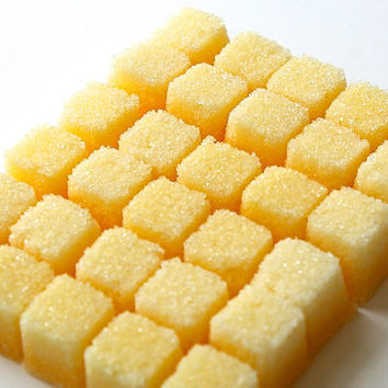 Lemon Flavored Sugar Cubes- for Tea Parties, Champagne Toasts, Favors, Coffee, Tea, Berries, Cider, Lemonade