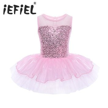 Sequins Kids Ball Gown Dress Christmas Gift Party Fancy Costume Cosplay Tutu Leotard Dress Girls Ballet Flower Dancewear Clothes