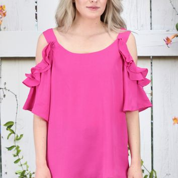 Ruffled Sleeve Open Shoulder Blouse {Hot Pink}