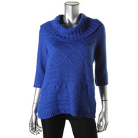 Style & Co. Womens Petites Knit Cowl Pullover Sweater