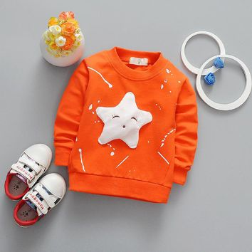 Baby Boys T Shirt Children Clothing 2017 Brand Clothes Boys Long Sleeve Tops Star Appliques Kids T-shirts for Boy Sweatshirt