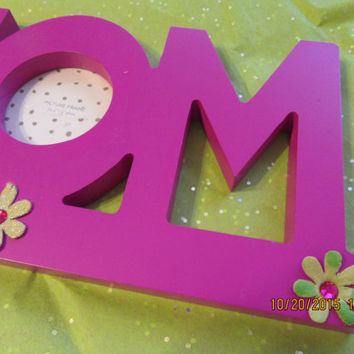 MOM Wooden Cutout - Shelf Sitter - Cottage Chic - Gift - Hot Pink with Paper Flowers and Bling - Has Cutout for MOM's Picture