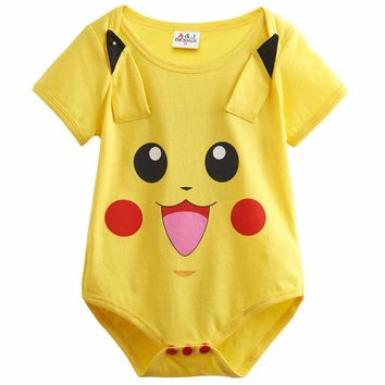Baby Girls Pikachu Funny Costume Cute Infant Bodysuit Short Sleeve Halloween Cosplay Cotton Newborn Playsuits Babygrow