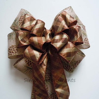 Brown Plaid Fall Wedding Bow Thanksgiving Wreath Bow, Fall Wreath Door Bow, Brown Gift Bow