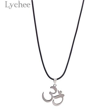Lychee Trendy Alloy Meditation OM Unisex Necklace Faux Leather Rope Chain Rune Pendant Necklace for Men Women
