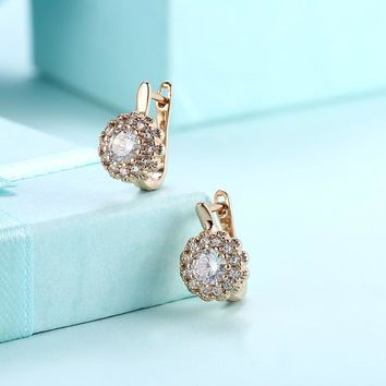 Swarovski Crystal Micro Pav'e Bursting Star Leverback Earrings Set in 18K Gold