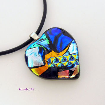 Appalachian Patchwork Heart Dichroic Glass Pendant - One-of-a-kind Multicolored Fused Glass Jewelry by Umeboshi