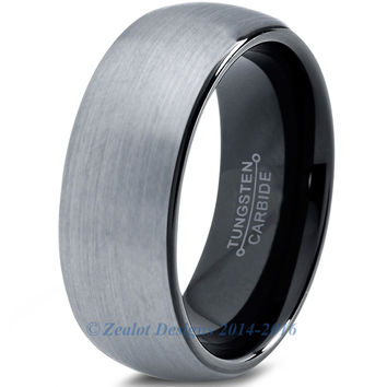 8mm Brushed Silver Tungsten Domed Brushed