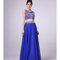 Royal Blue Chiffon Embellished Two Piece Dress 2015 Prom Dresses