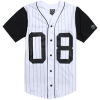 Civil 08 Block Pinstripe Baseball Jersey - Mens Tee - White