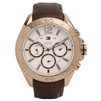Tommy Hilfiger 1791031 Men's Grant White Dial Rose Gold Steel Brown Leather Strap Watch