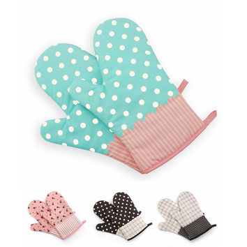 1Pcs Cotton Oven Mitts Microwave Oven Kitchen BBQ Heat Resistant Potholder Gloves