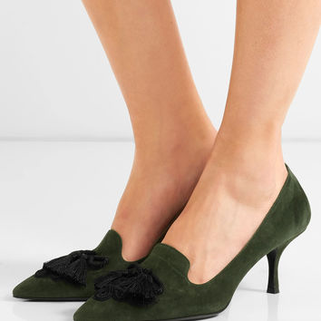 Prada - Embellished suede pumps