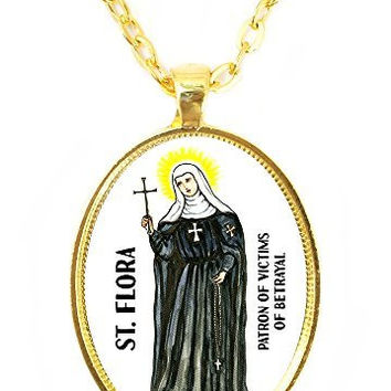 St Flora Patron Saint of Victims of Betrayal Huge 30x40mm Bright Gold Pendant with Chain Necklace