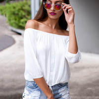 White Strapless Off Shoulder Half Sleeve Chiffon Top